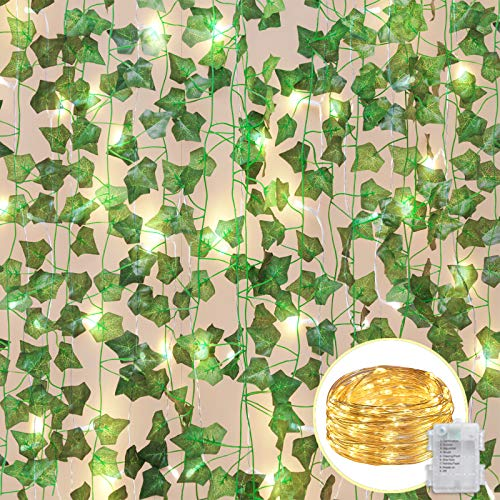 COCOBOO 12 Pack Fake Vines with 80 LED String Light, Artificial Vines Fake Ivy Leaves Garlands Greenery Hanging Plants for Room Party Wedding Wall Decoration