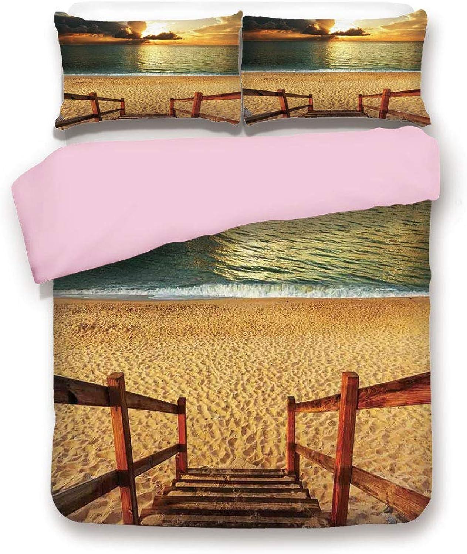 Pink Duvet Cover Set,King Size,Dramatic Beach Scenery with Majestic Rain Cloud Horizon Heaven Paradise Theme,Decorative 3 Piece Bedding Set with 2 Pillow Sham,Best Gift For Girls Women,Cream bluee Oran