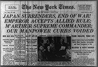 HistoricalFindings Photo: Photo of Newspaper Headlines, York Times,Japan Surrenders,August 15,1945