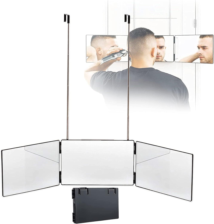 PEALOV 360 Mirror,Espejo De Peluquero De 360 °, Espejo Triple PortáTil De 3 VíAs, Espejo con 3 Lados Plegable con Ganchos Adaptable En Todas Las Superficies, Herramienta De Corte De Pelo DIY