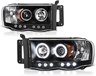 [For 2002-2005 Dodge RAM 1500 2500 3500] CCFL Halo Ring Black Projector Headlight Headlamp Assembly, Driver & Passenger Side