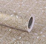Papel adhesivo dorado vintage con diseño floral de 45 x 3 m