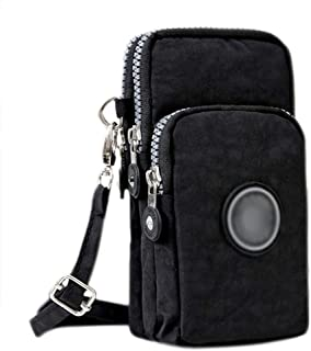 3-Layers Cellphone Pouch Wristlet Purse Waterproof Sports Armband Shoulder Bag Wallet