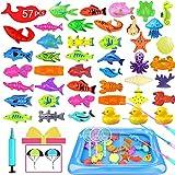 Hook 57Pcs Fishing Game Angelspiel Kinder, Garten Kinder Spielzeug, Angelspiel Wasser Badewanne ab 3 Jahren Wasserdichtes Schwebendes Pool Spielzeug in der Badewanne Lernspielset zum Angelnlernen…