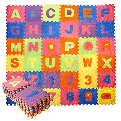 CCLIFE 36 Piezas Alfombra Puzzle para Niños Goma Espuma Suave Eva alfombras Alfombra Puzzle para Niños Bebe Infantil