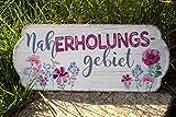 G.Handwerk Metall Schild 35x15cm - Naherholungsgebiet - Pink/Creme Nostalgie Tafel