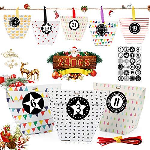 Adventskalender zum Befüllen, 24 Adventskalender Tüten, mit Zahlenaufklebern, Adventskalender Selber Befüllen, für Weihnachtlichen 2020 zum Basteln und Befüllen, Weihnachts DIY