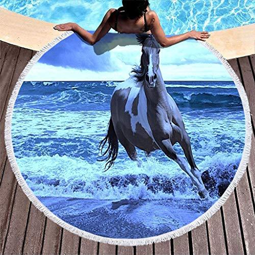 Shinelly Pferd Laufen Auf Dem Meer Muster Strandtuch,Yogamatte,Indisches Mandala,Rund,Baumwolle,Tischdecke Strandtuch, runde Yogamatte,Schal,59in Strand Freizeit