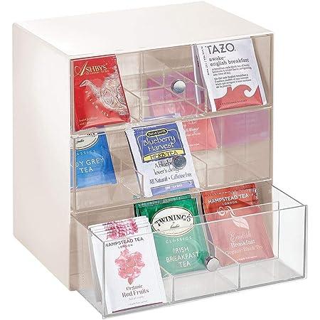 mDesign boite à thé, à café, à sucre, etc. – boite de rangement compacte en tissu avec 27 compartiments – casier de rangement avec 3 tiroirs – couleur crème et transparent