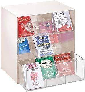 mDesign boite à thé, à café, à sucre, etc. – boite de rangement compacte en tissu avec 27 compartiments – casier de rangem...