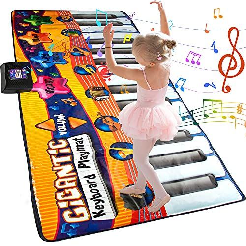 JUYOUNGA Floor Piano Mat for Kids and Toddlers - Giant 6 feet Piano Mat, 24 Keys Keyboard Play Mat,Built in Songs, Record & Playback, 8 Instrument Sounds,Education Toys for Boys Girls Age 3+
