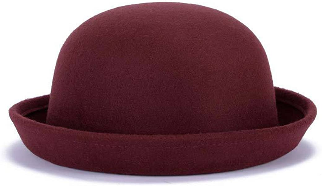Lujuny Cute Kid Wool Bowler Hats Girls Boys Derby Fedora Caps with Roll-up Brim