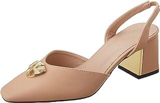 حذاء كعب عال للنساء، لون بيج نود، مقاس 39، من ديجافو