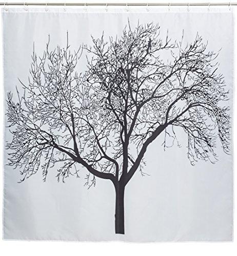Grinscard Duschvorhang mit Natur Motiv - Bunt Winter Tree Design ca. 180 x 180 cm - Dusch-Vorhang als Geschenkidee