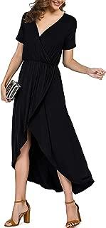 Women's Short Sleeve V Neck Slit High Low Wrap Maxi Dress Summer Beach Party Wedding Dress