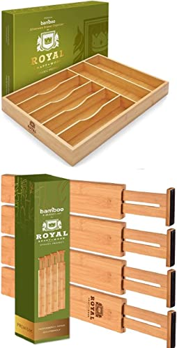 new arrival Bamboo Kitchen Drawer Organizer Tray for Flatware 17 online sale x 13 inches (Natural) and Adjustable Bamboo Drawer Dividers Organizers, high quality 4-Pack 17-22 IN, Natural sale