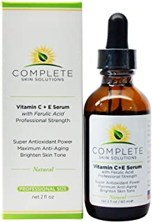 C E Ferulic Serum (2 oz) by Complete Skin Solutions, Anti-Aging Skin Care System for Face and Neck, Wrinkle Reducer, Sun Damage Repair, Antioxidant Protection, Natural and Paraben Free, Made in USA