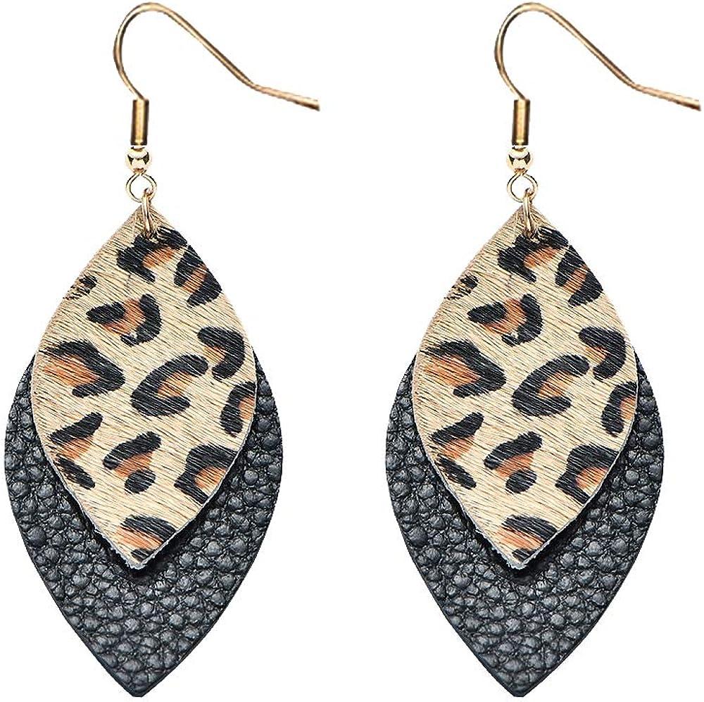 Women's Leather Earrings,Genuine Leather Drop Dangle Earrings Boho Big Statement Teardrop Earrings for Summer
