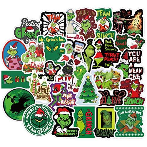 Comedy Laptop-Aufkleber für Kinder und Jugendliche, lustige, wasserdichte Vinyl-Aufkleber für Wasserflasche, Gepäck, Telefon, Gitarre, Computer, Fahrrad, Skateboard (How The Grinch Stole Christmas)