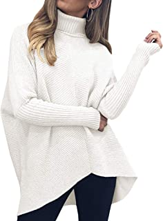 Womens Turtleneck Long Batwing Sleeve Sweater Asymmetric...
