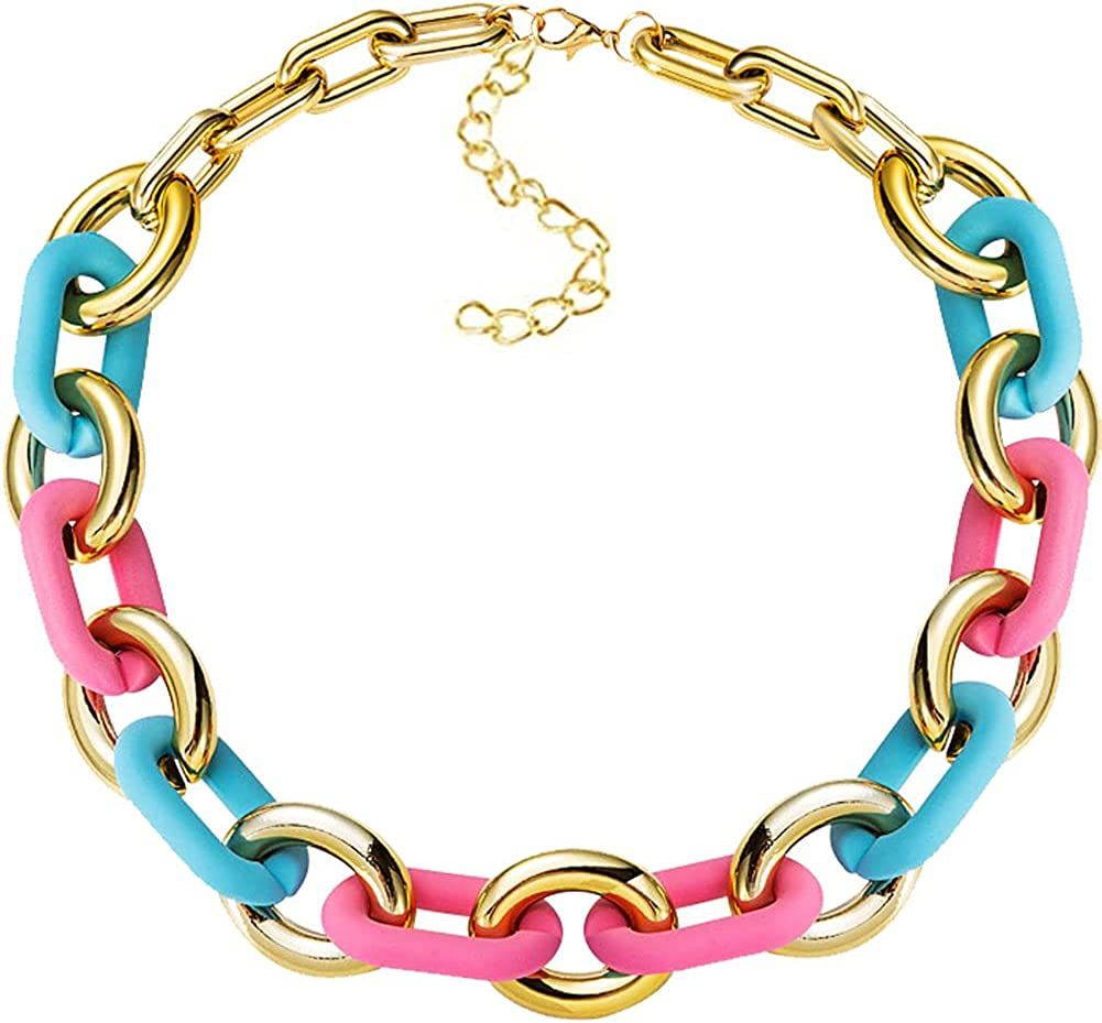 Acrylic Link Necklace Punk Chunky Fashion Necklace Colorful Beach Necklace For Women