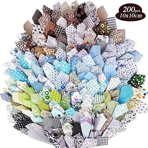 MEJOSER 200 stück 100% Baumwolle Patchwork Stoffe Paket 10 * 10cm Baumwollstoff Set Stoffreste zum Nähen Stoffpaket Baumwolle Quadrate Baumwolltuch mit verschiedenen Mustern
