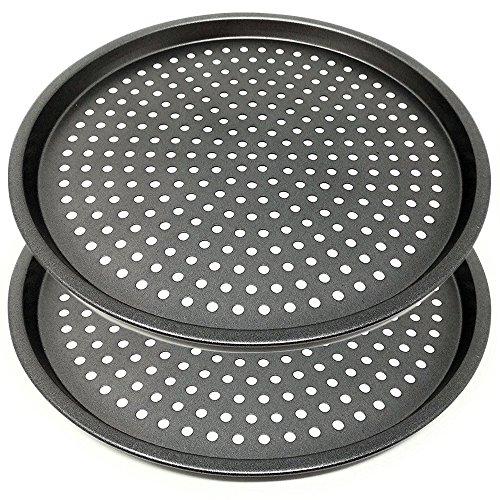 LS Kitchen - Pizzablech - Antihaft-Pizza-Backblech mit Löchern - Karbonstahl - Ø 29 cm - Set von 2