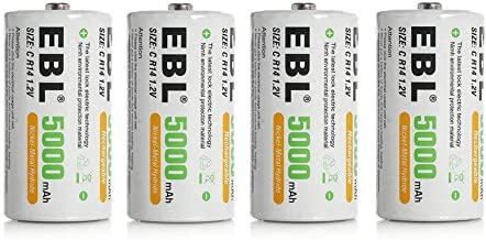 EBL 4PCS Piles C Rechargeables 5000mAh Ni-MH 1.2V, Type C Baby C LR14 Batterie Rechargeable 1200 Cycles