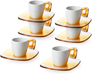 Omada Design 6 coffee cups in porcelain and acrylic, 3.17 fl oz, Square Line