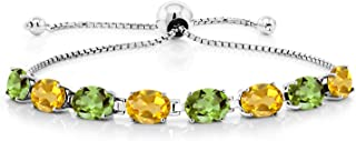 Gem Stone King 925 Sterling Silver Build Your Own Personalized 8 Birthstones Adjustable Women's Tennis Bracelet