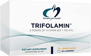 Designs for Health Trifolamin B12 + Folate Lozenges - 3000mcg B12 (Three Forms) + MTHF Methylfolate Supplement - Delicious...