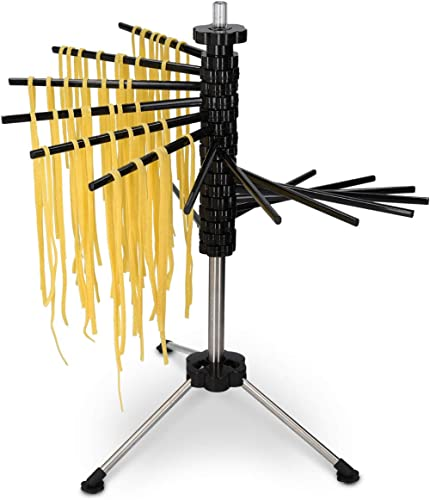 Navaris Collapsible Pasta Drying Rack - Tall Spaghetti Noodle Dryer Stand for up to 4.5 lbs of Homemade Noodles - Black product image