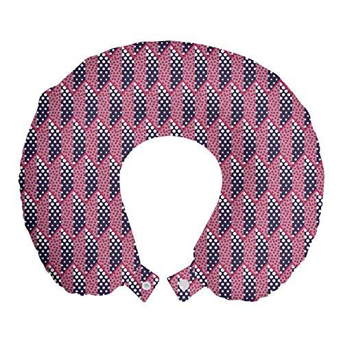 ABAKUHAUS Geométrico Cojín de Viaje para Soporte de Cuello, Círculos y trapecios, de Espuma con Memoria Respirable y Cómoda, 30x30 cm, Cuarzo Rosa