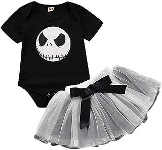 Riou Halloween Riou Halloween Kostüm Mädchen Tüllrock Fasching Baby kostüm Party Costume Tanz Ballett Tutu Rock  Skelett Printed Strampler Babykleidung Outfits Set Schwarz A, 80