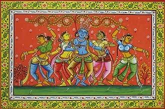 Krishna Dances with Gopis - Watercolor on Patti - Artist Rabi Behera