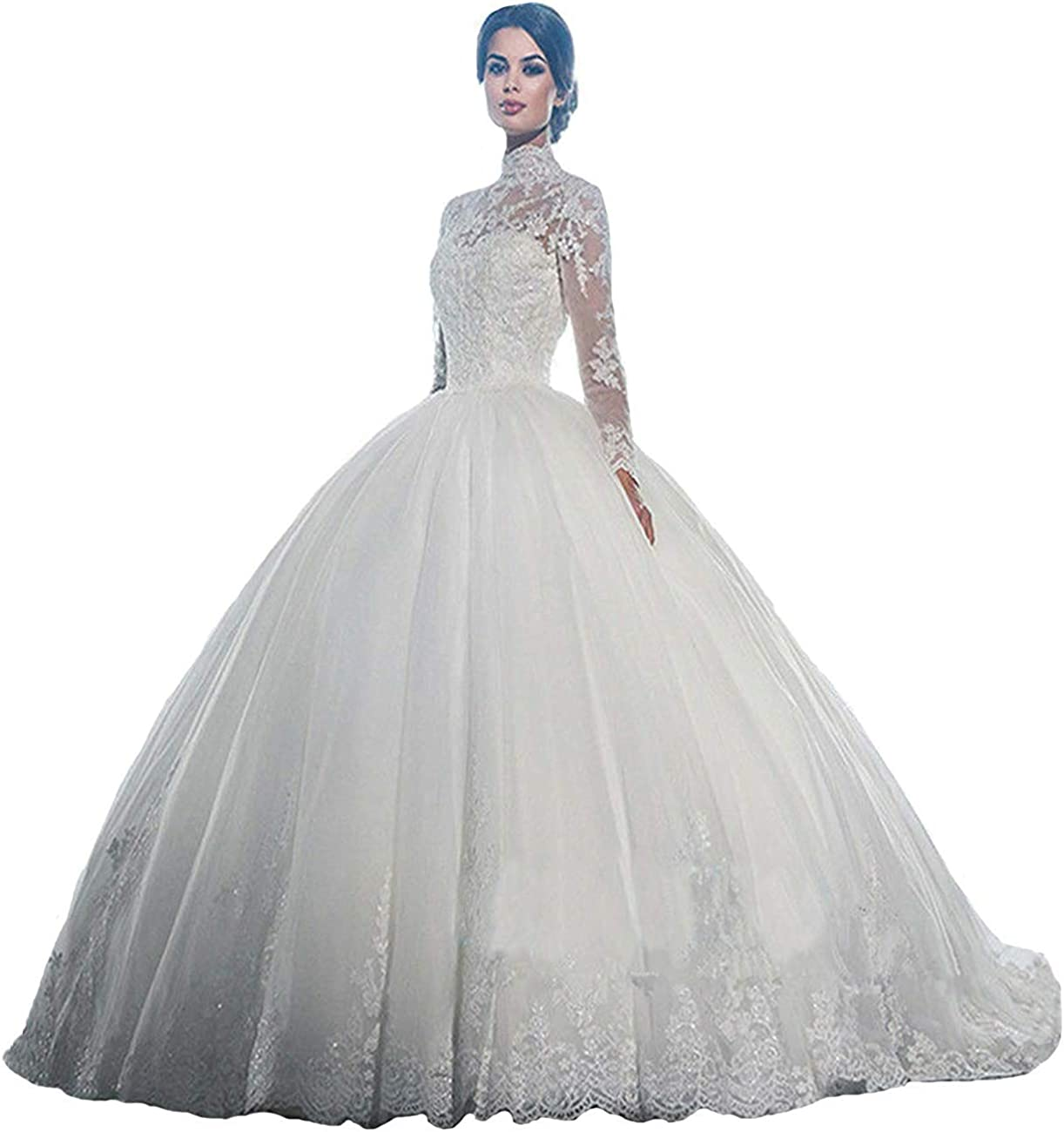 Iluckin Women's Princess High Neck Long Sleeves Lace Wedding Dress for Bride with Lace 2020 Bridal Ball Gowns