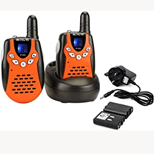 Retevis RT602 Walkie Talkies for Kids Rechargeable 80 Channels 2 Way Radio Flashlight VOX with Li-ion Batteries and Charger for Birthday Gift Christmas(2 Pack, Orange)
