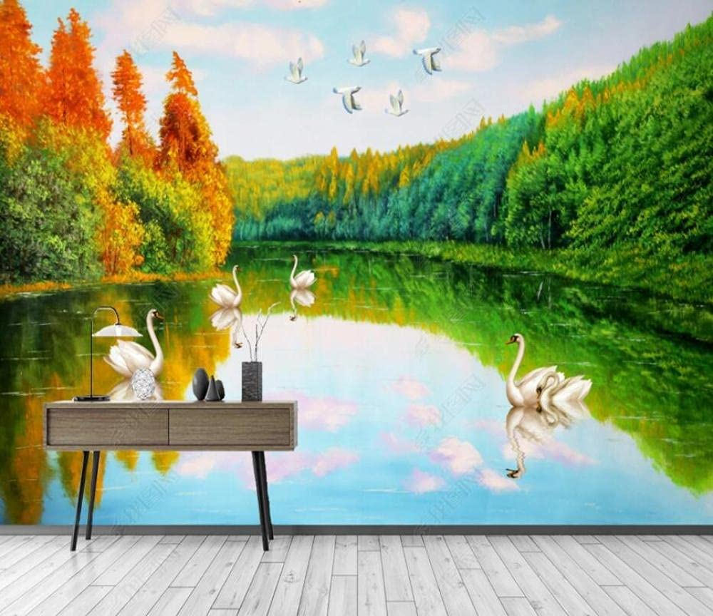 Wall Murals Wallpaper Forest Lake Oil Painting low-pricing Water Special Campaign Landsc Swan