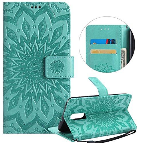 Surakey Coque Compatible avec Huawei Mate 10 Lite Fleur Motif PU Cuir Flip Housse Étui Cover Case Wallet Portefeuille Supporter avec Carte de Crédit Fentes pour Huawei Mate 10 Lite - Vert