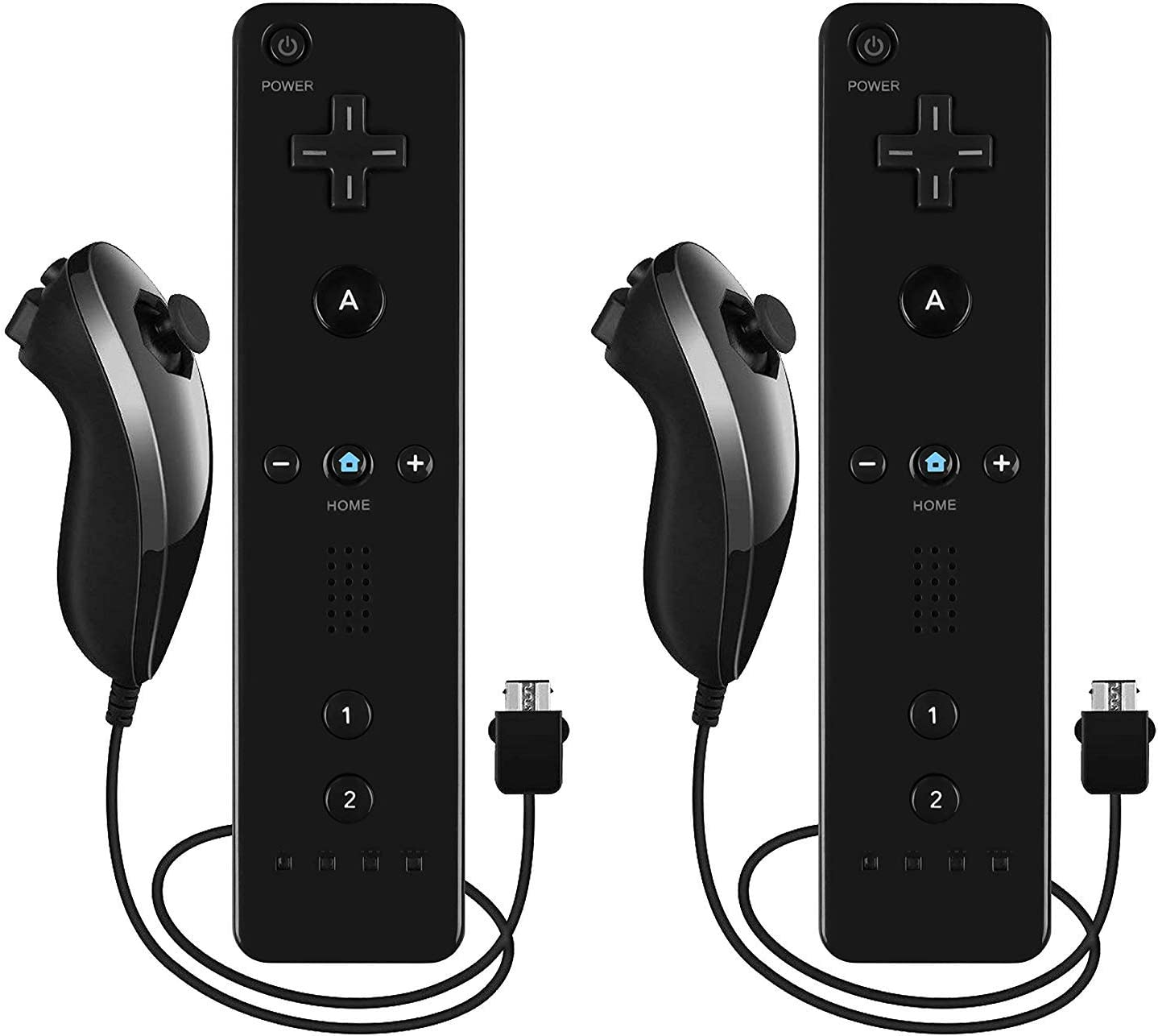 Burcica Remote and Nunchuck Controller for Wii Wii U (Black 2 Pack)