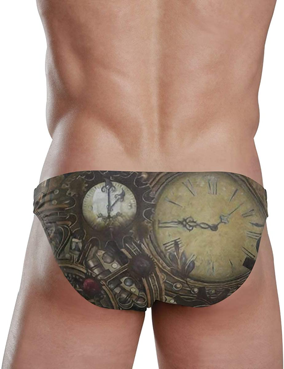 Steampunk Clocks Sexy Mens Swimwear Swim Briefs Bikini Brazilian Cut Surf Board Shorts