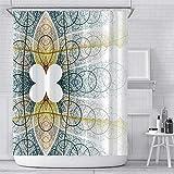 STRAWBLEAG Duschvorhang, Boho-Blumenmuster, Polyester, dekorativer Vorhang mit 12 C-förmigen Haken, 183 x 183 cm