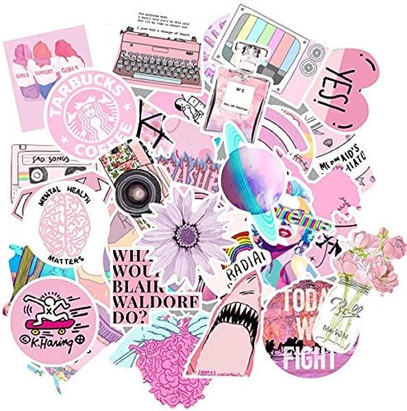 50 张粉色可爱女孩 Vsco 贴纸,适用于行李笔记本电脑滑板贴纸,适用于自行车汽车摩托车冰箱