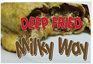 Decal Sticker Multiple Sizes Deep Fried Milky Way Restaurant & Food Deep Fried Milky Way Outdoor Store Sign Red - 12inx8in, Set of 2