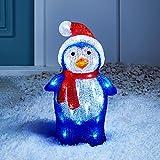 Lights4fun – Decoración Navideña Luminosa Pingüino con LED Blancos para...