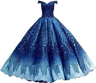 Vestido de Novia de Novia Corte Palabra Hombro Princesa Princesa Enagua Qi gradiente Vestido de Boda (Color : Blue, tamaño...