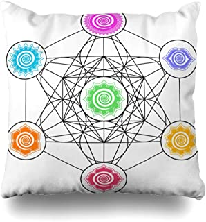 DIYCow Throw Pillows Covers Age Metatrons Cube Chakras Cosmic Energy Centers Geometry Sacred Home Decor Pillowcase Square Size 18 x 18 Inches Cushion Case