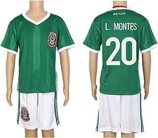 2016 Copa #20 L. Montes Green Home Kids Soccer Jersey & Short Kit Set