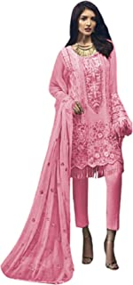 فستان نسائي وردي للحفلات مطرز ثقيل من جورجيت فستان هندي باكستاني مسلم بوليوود 6215
