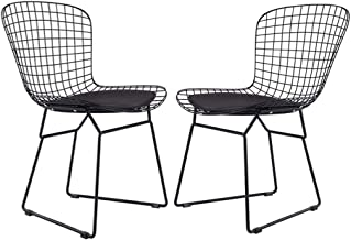 JYKOO Modern Iron Dining Chair, Hollow Chair, Armchairmodern Coffee Chair Home Decoration, (Set of 2),Black